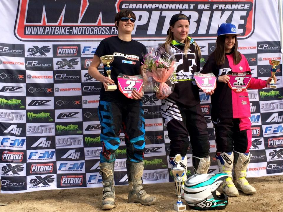 Podium GIRL championnat france pit bike RIS 2016